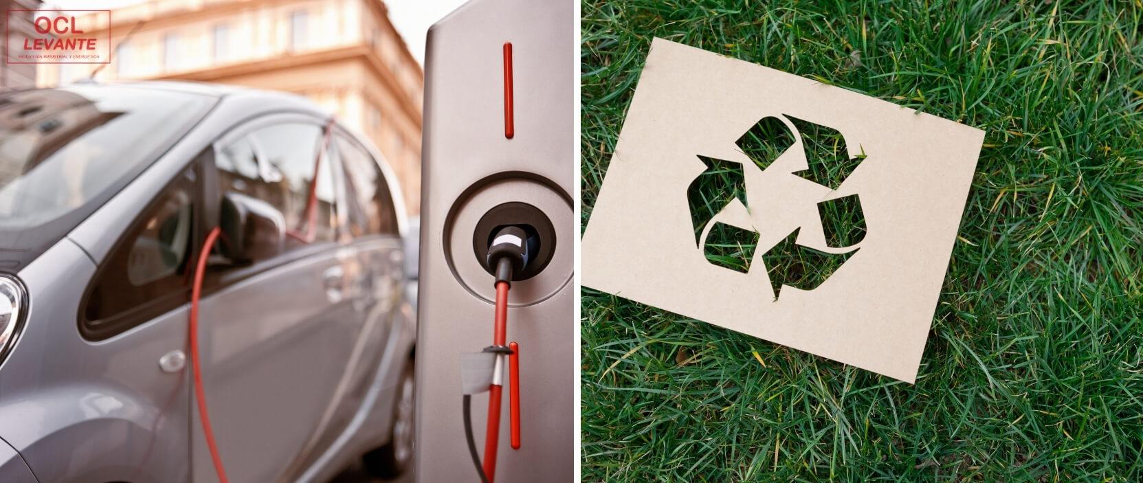 casas ecológicas con recargas de coches eléctricos y materiales reciclables